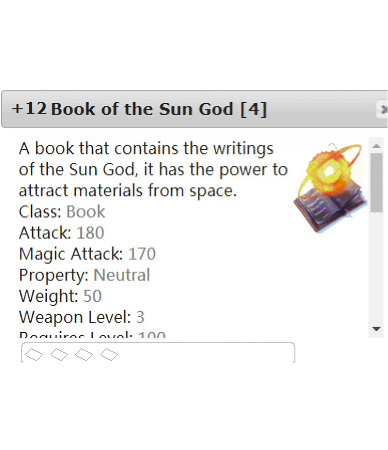 Ragnarok Online  >  Items  >  US - Chaos - Items  >  +12 Book of the Sun God [4]
